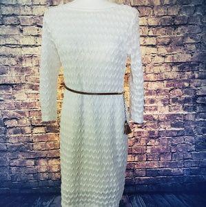 Sharagano White Textured Dress
